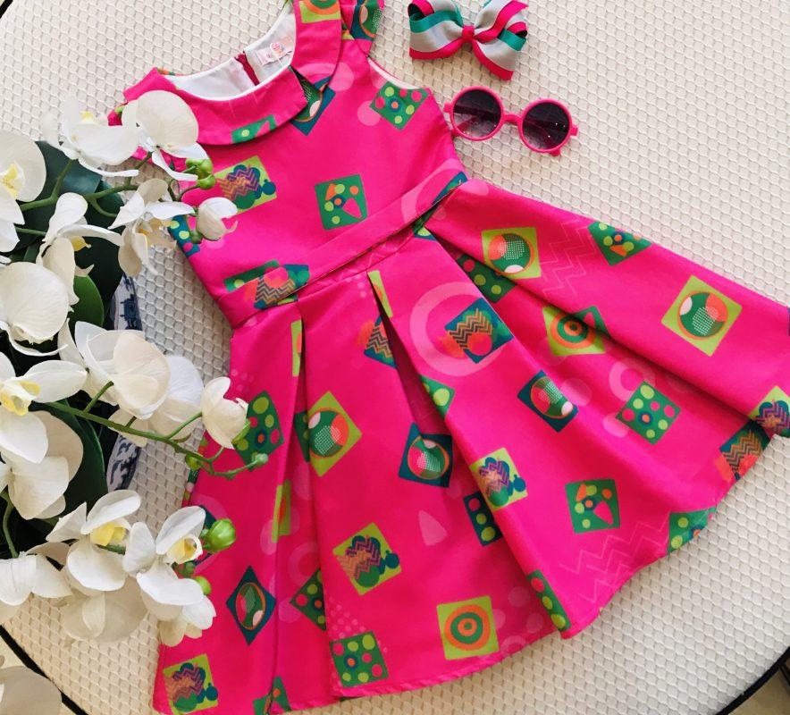 Vestido Malagah Pink com gola