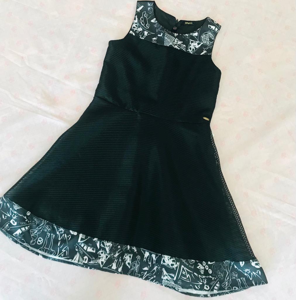 Vestido Malagah Preto Organza Teen