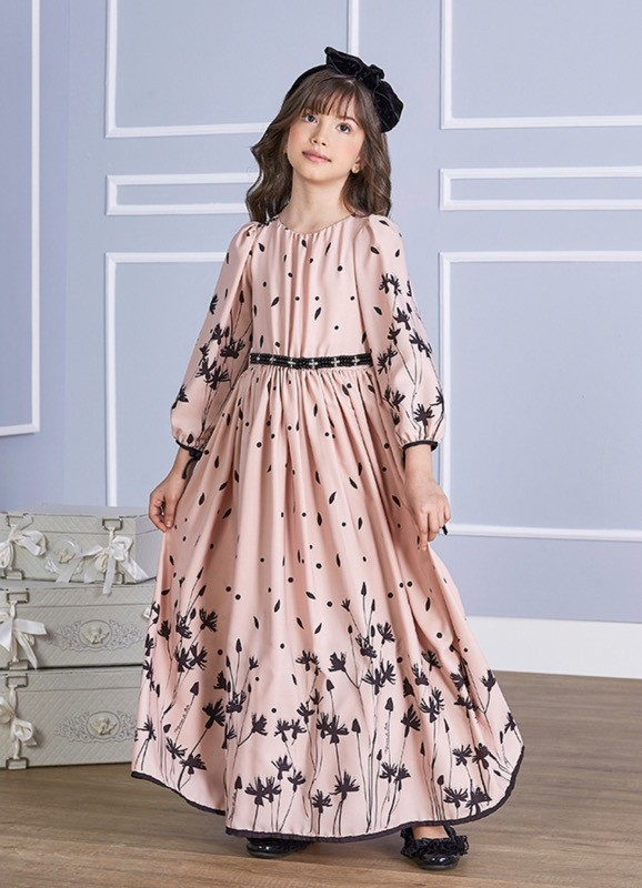 Vestido Menina de Seda Longo Rose tecido leve e delicado