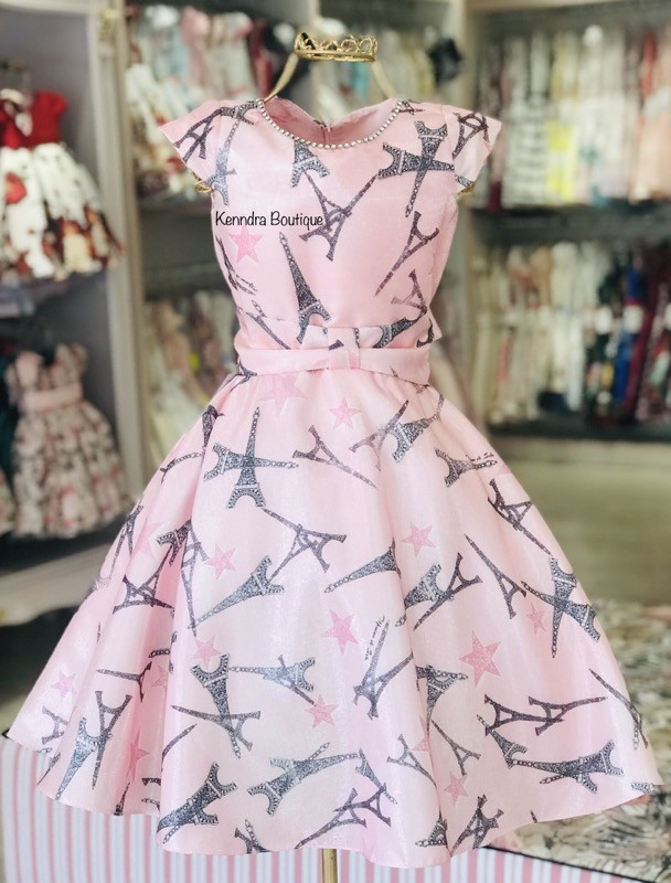 Vestido Menina de Seda Paris Rosa