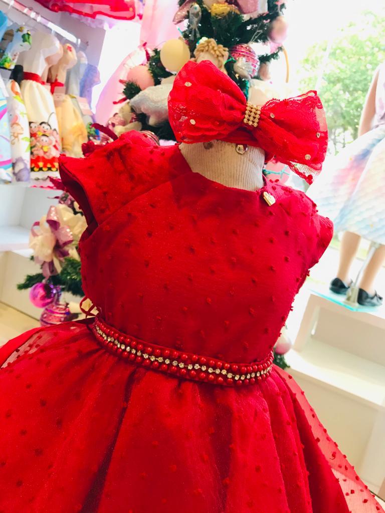 Vestido Menina de Seda Vermelho coberto com organza