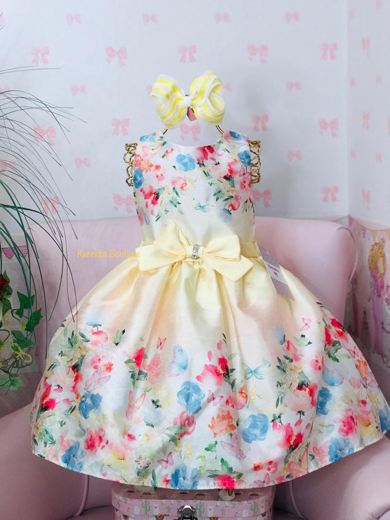 Vestido Petit Cherie Amarelo estampado flores e borboletas