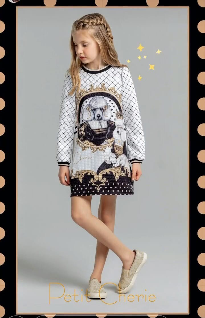 Vestido Petit Cherie Casual P&B barrado de bolinhas