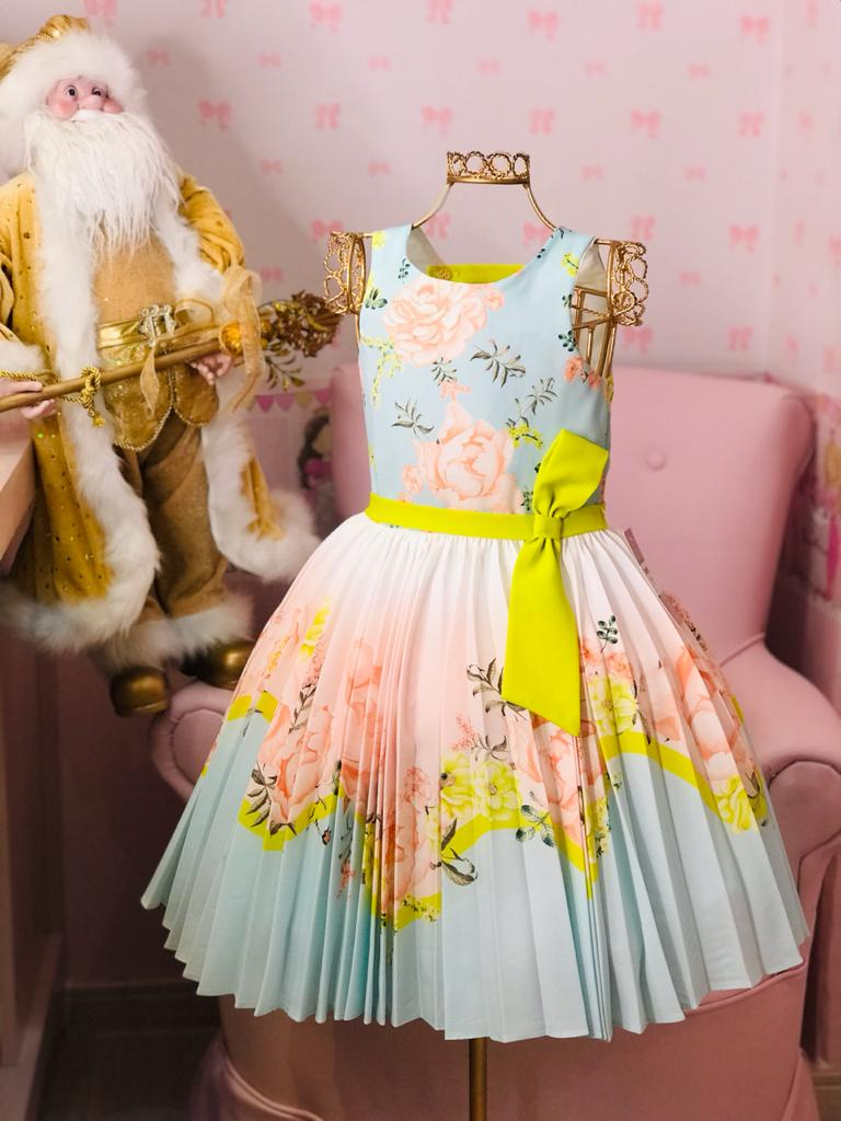 Vestido Petit Cherie floral neon saia drapeada