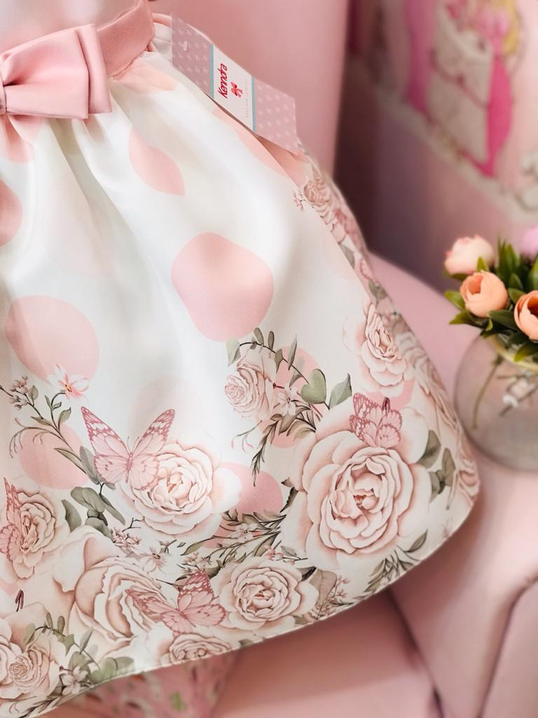 Vestido Petit Cherie jardim barrado floral rosa