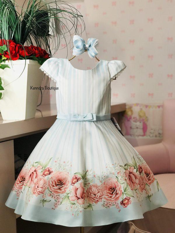 Vestido Petit Cherie listras azuis com barrado floral