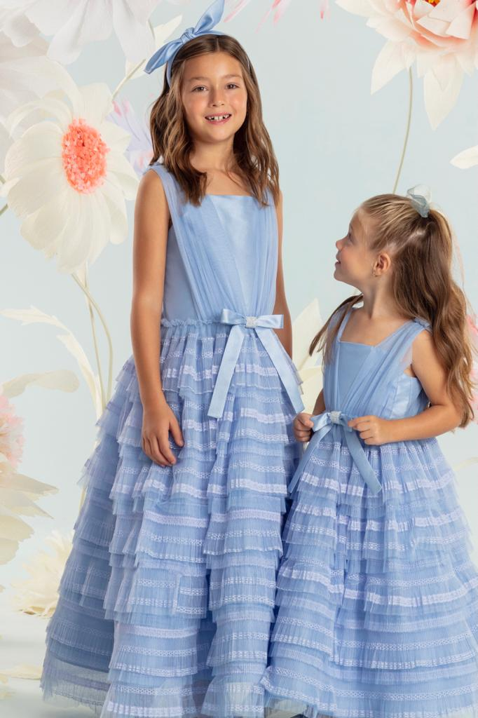 Vestido Petit Cherie Martina Conceito babados de tule azul