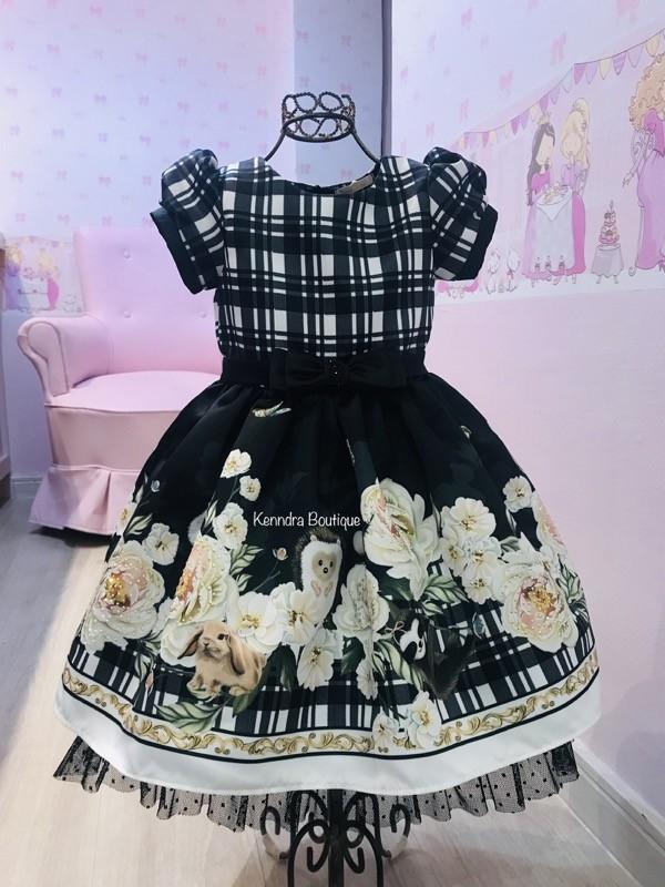 Vestido Petit Cherie Martina Floral com tule poá na barra