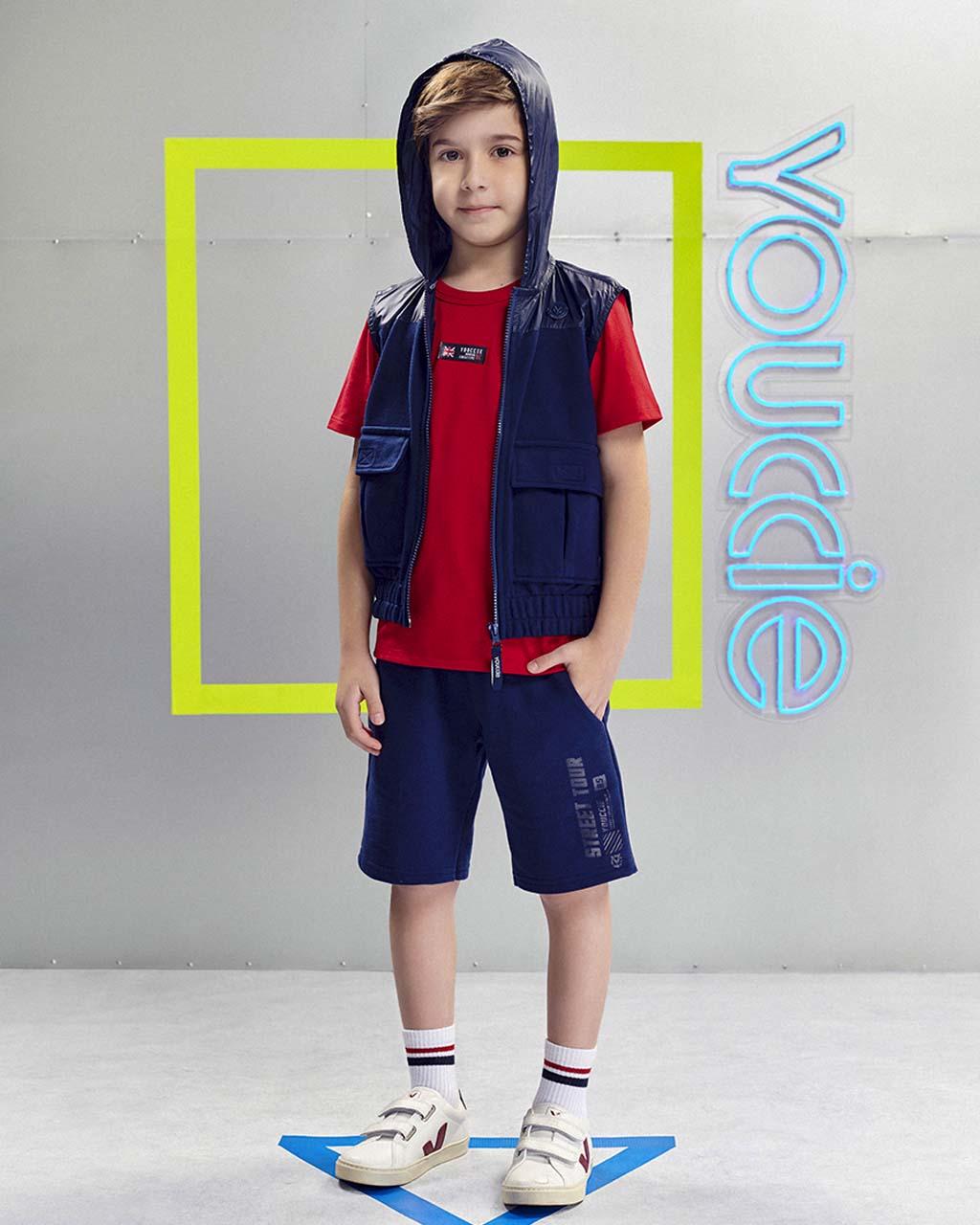 Bermuda Infantil Moletom com Detalhe Corta Vento Azul Marinho Youccie