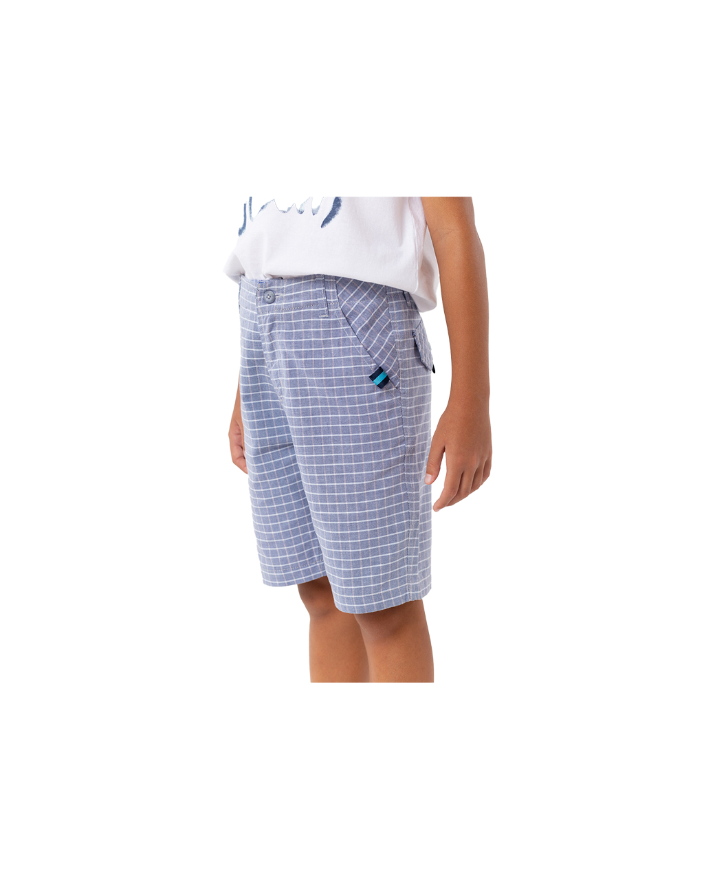 Bermuda Infantil Xadrez Azul Um Mais Um