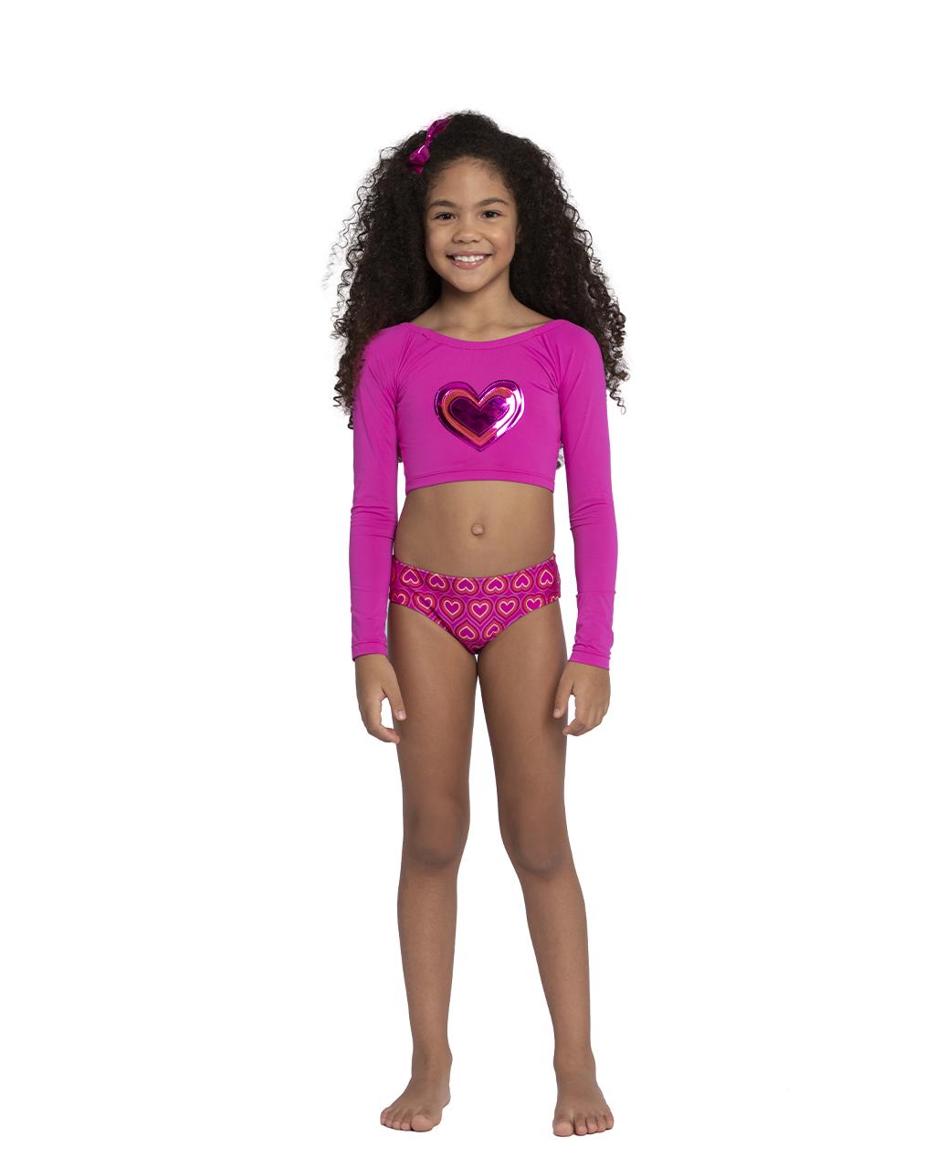 Biquini Infantil Cropped Amarração nas Costas Coração Rosa Siri