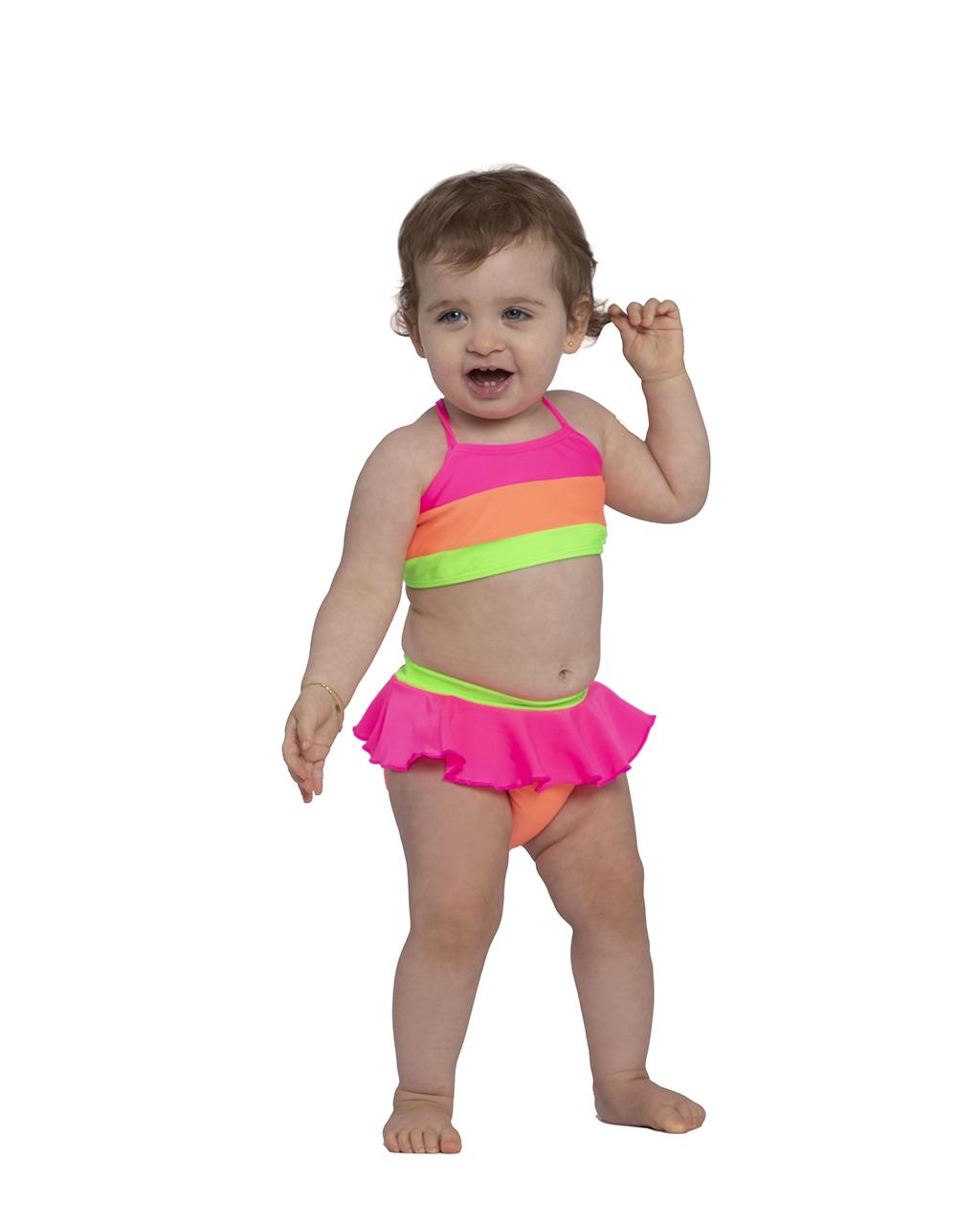 Biquini Infantil Listrado Neon Siri
