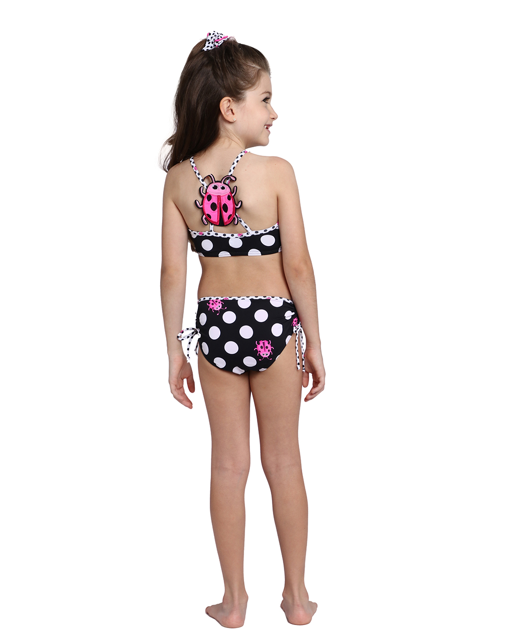Biquini Infantil Top Cropped Preto com Bolas Brancas e Estampas Joaninha Siri