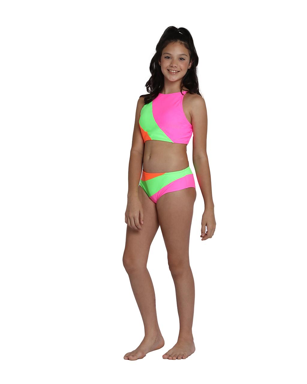 Biquini Teen Rosa Cropped e Calcinha Listras Verde e Laranja Siri
