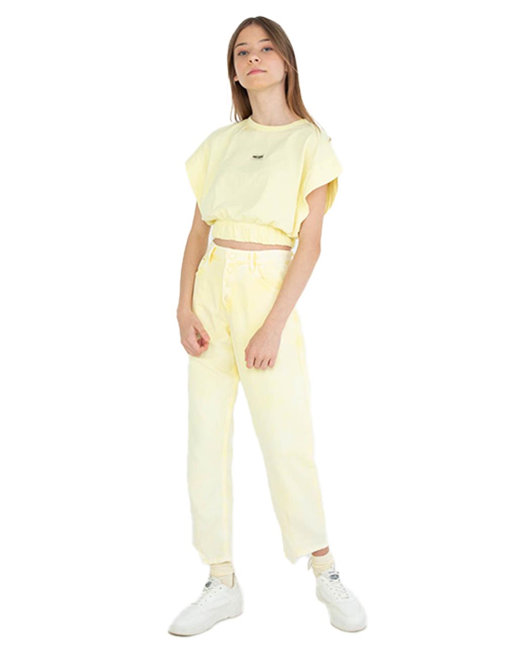Blusa Cropped Teen Elastico na Barra Amarela Dimy Candy