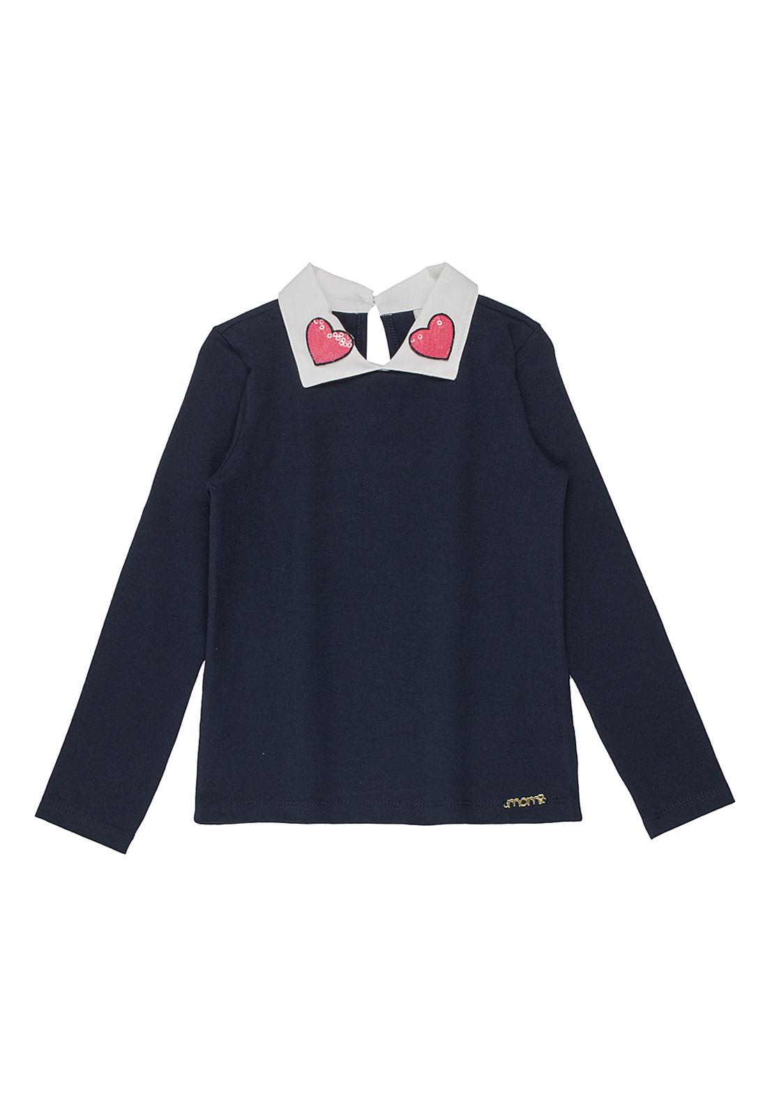 Blusa Infantil Azul Marinho com Gola Branca e corações Neon Momi