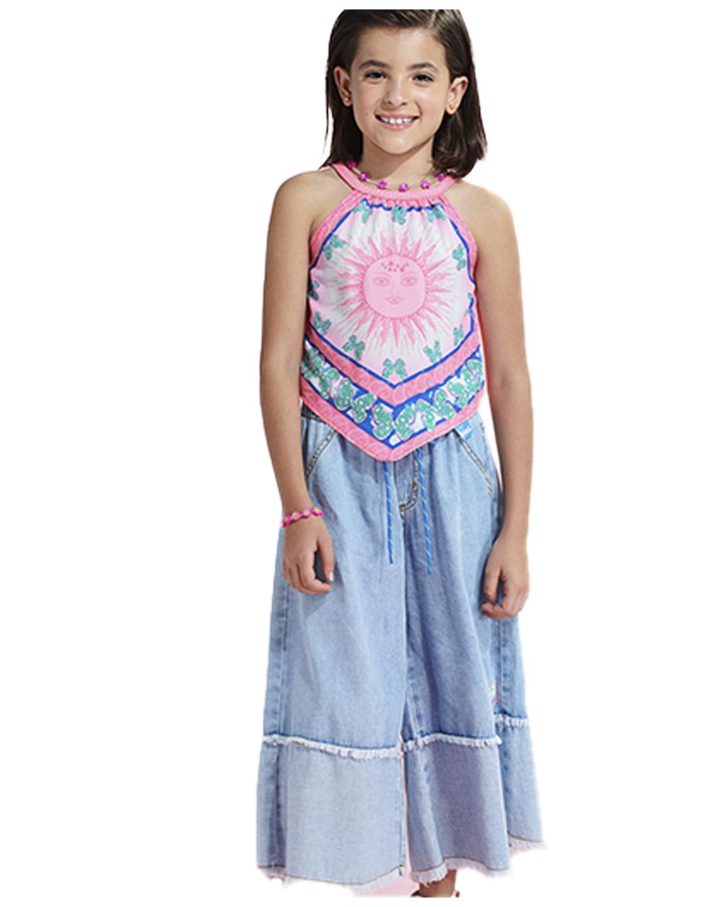 Blusa Infantil Bandana Rosa Animê