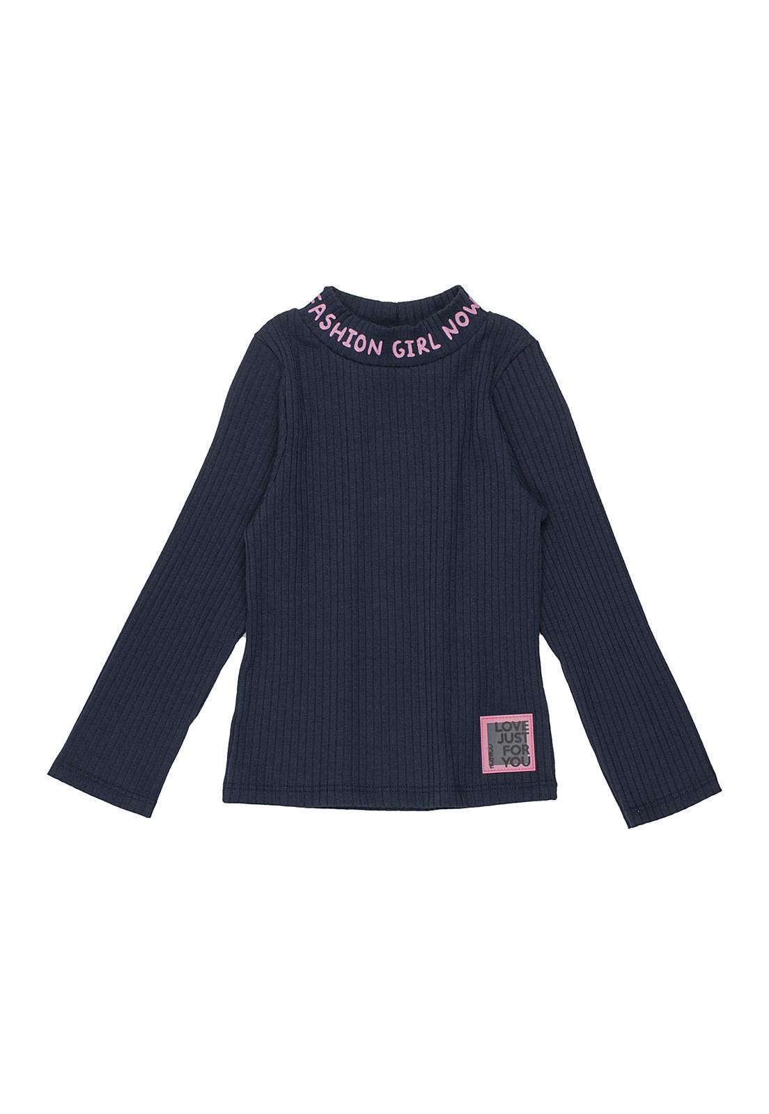 Blusa Infantil Canelada Manga Longa Fashion Girl Azul Marinho Momi
