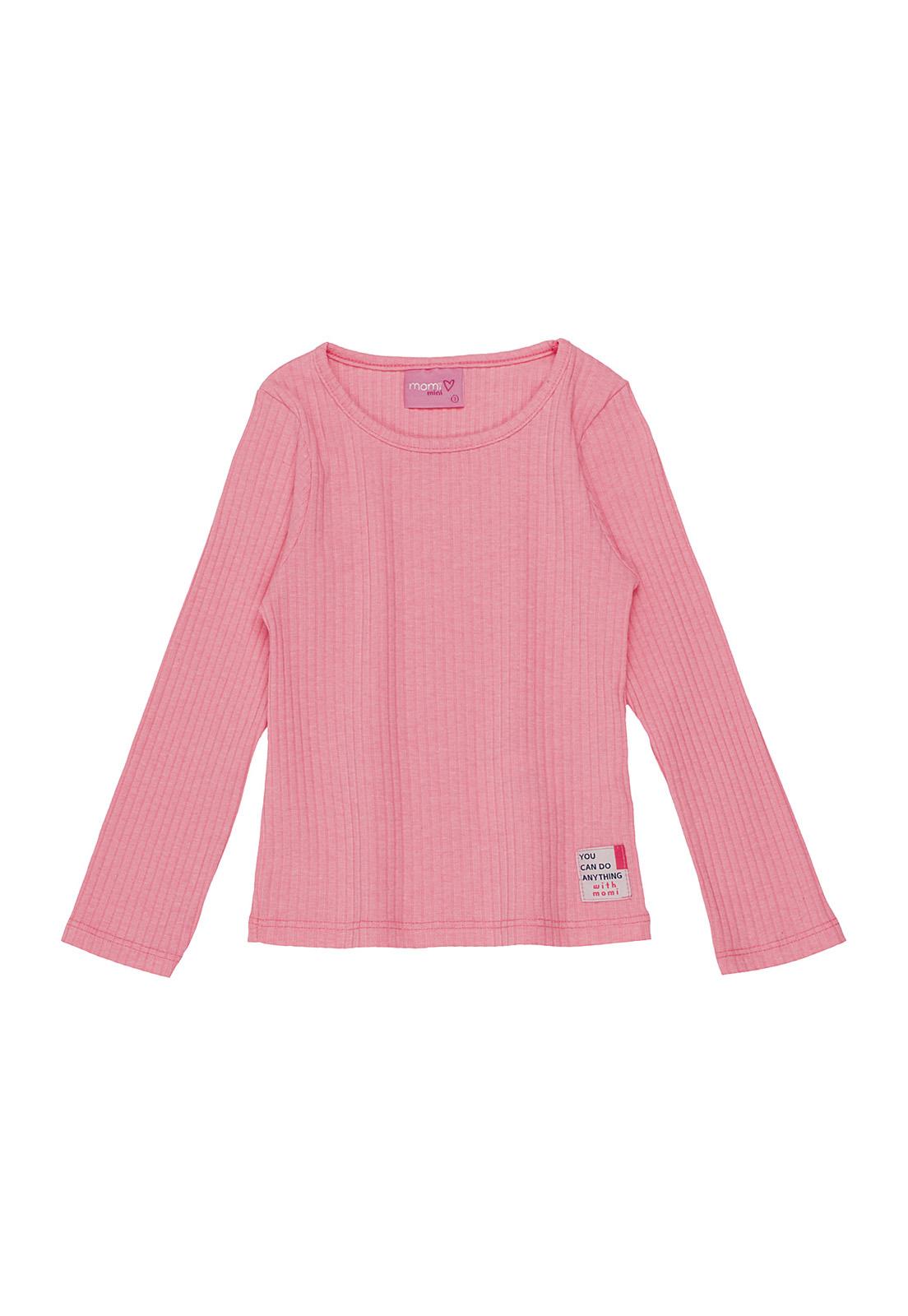 Blusa Infantil Canelada Rosa Neon Momi