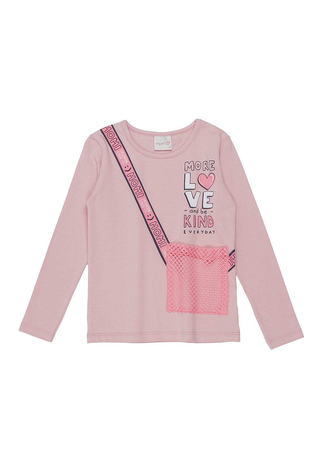 Blusa Infantil com Bolso Telinha Rosa Neon Momi