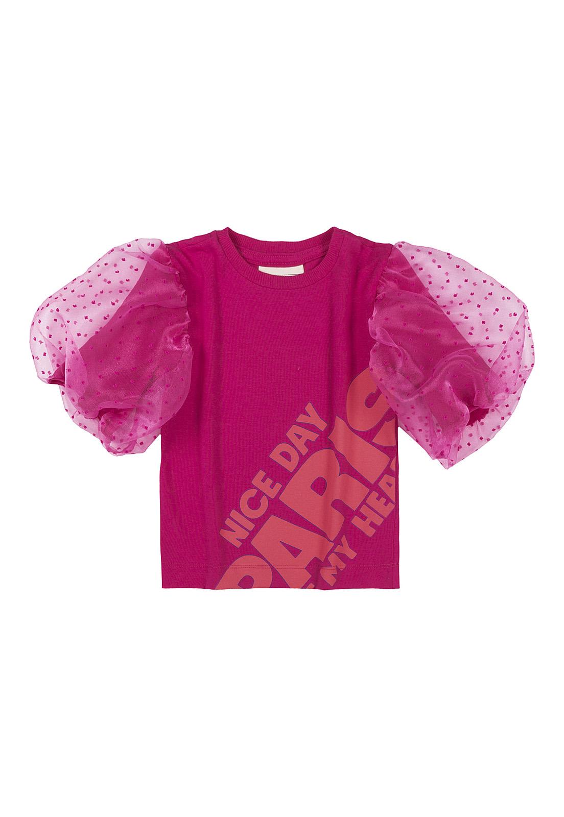 Blusa Infantil Cotton Pink Com Mangas Organza Animê