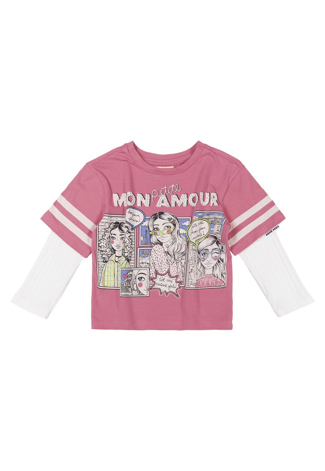 Blusa Infantil Cotton Sobreposição Manga Canelado Animê