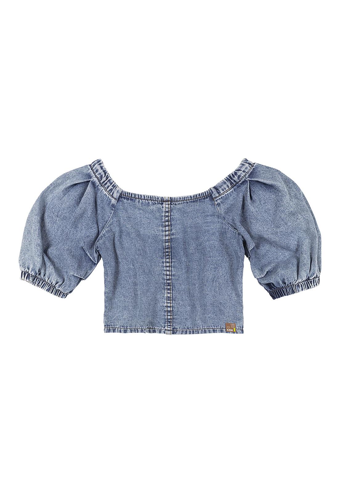 Blusa Infantil Jeans Ombro a Ombro Com Mangas Bufantes Animê