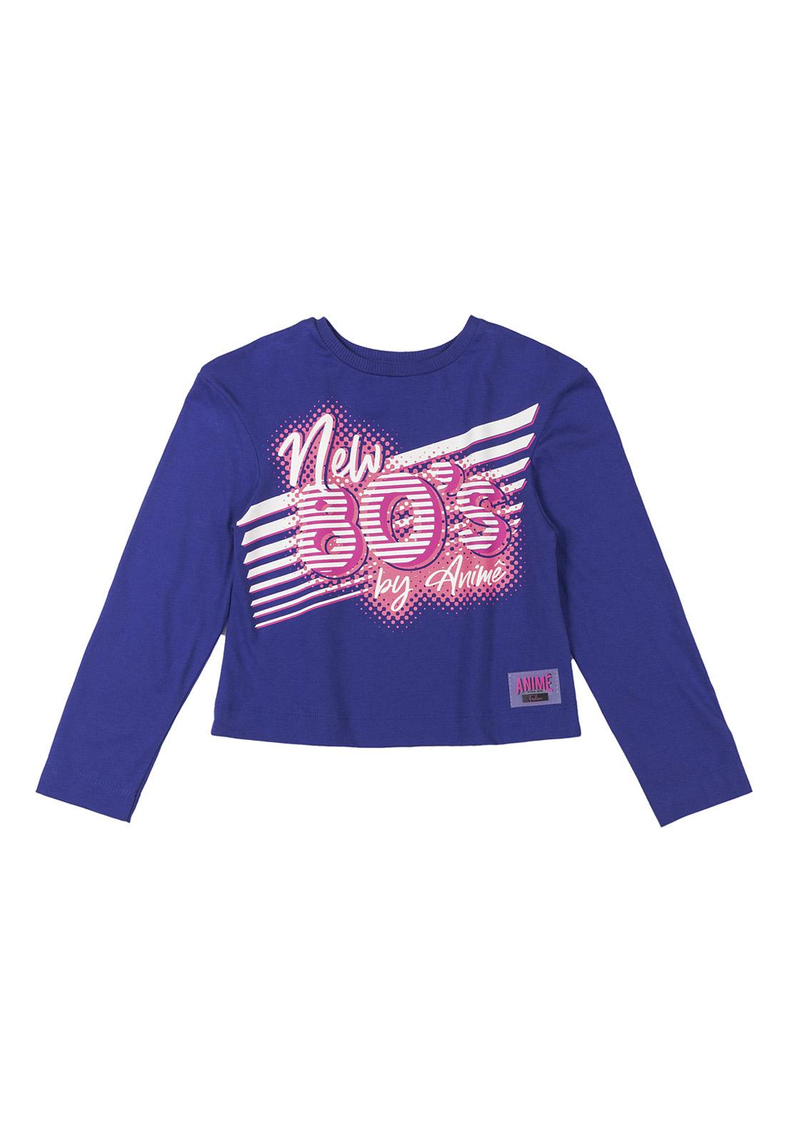Blusa Infantil Malha Azul Royal Estampa 80s Animê
