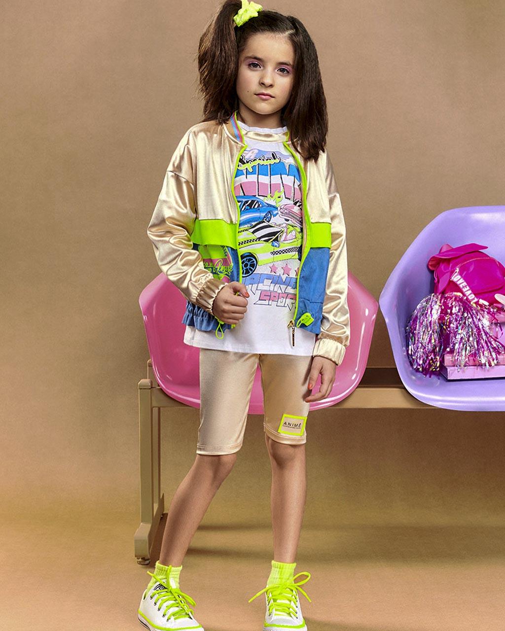 Blusa Infantil Malha Brilho Alongada Cotton Sobreposição Animê
