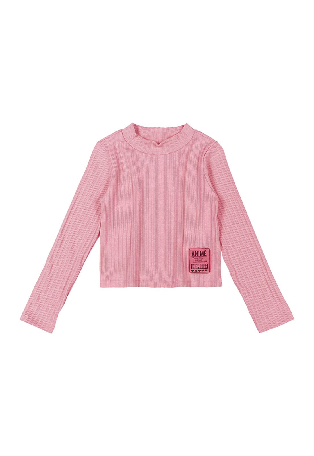 Blusa Infantil Manga Longa Básica Canelada Rosa Neon Animê