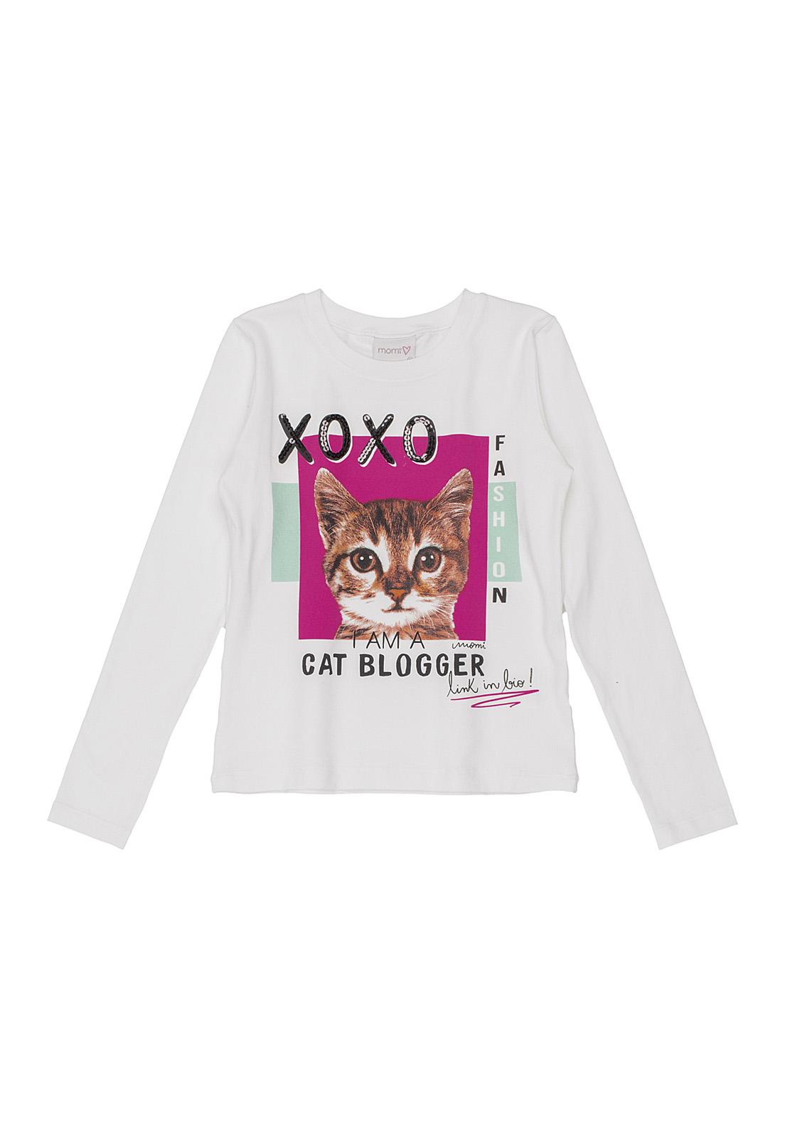 Blusa Infantil Manga Longa Gato Blogueiro Momi