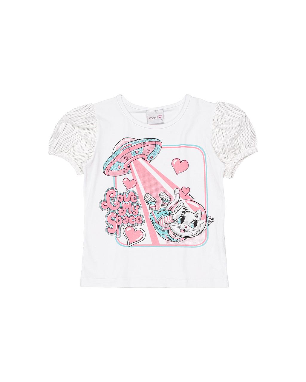 Blusa Infantil Manga Longa Gato Espacial Momi