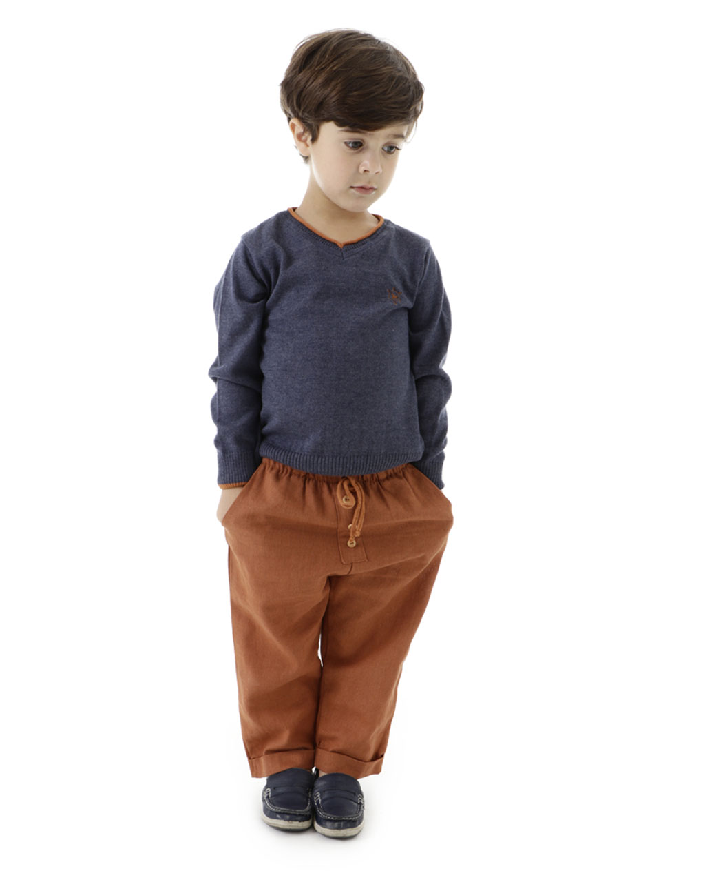 Blusa Infantil Masculina Tricô Mescla Cinza Detalhe Gola Mini Lady