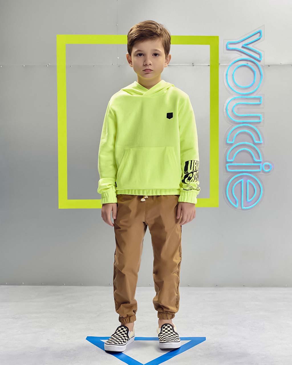 Blusa Infantil Moletom com Bolso e Capuz Amarelo Neon Youccie