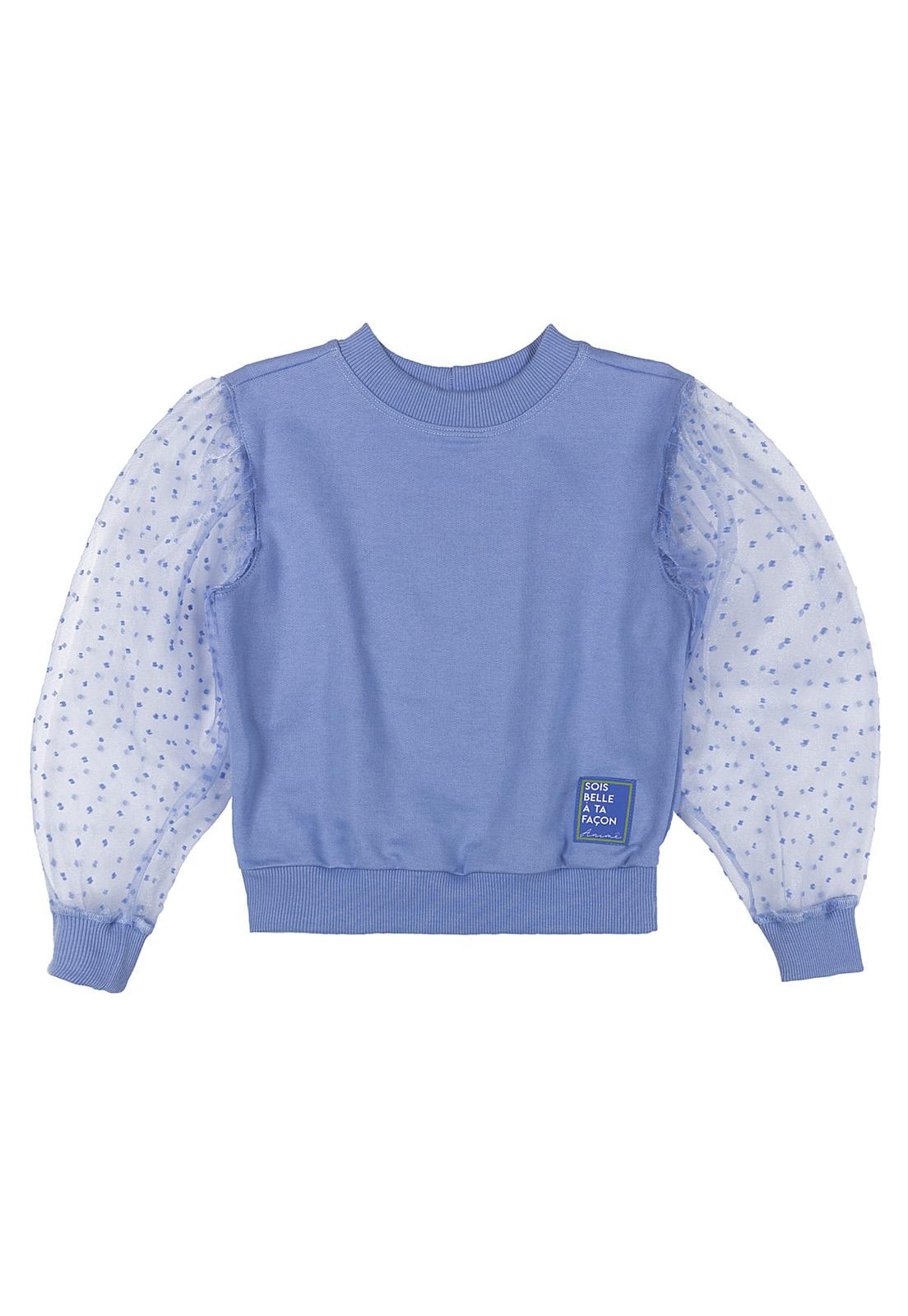 Blusa Infantil Moletom Com Organza Azul Animê