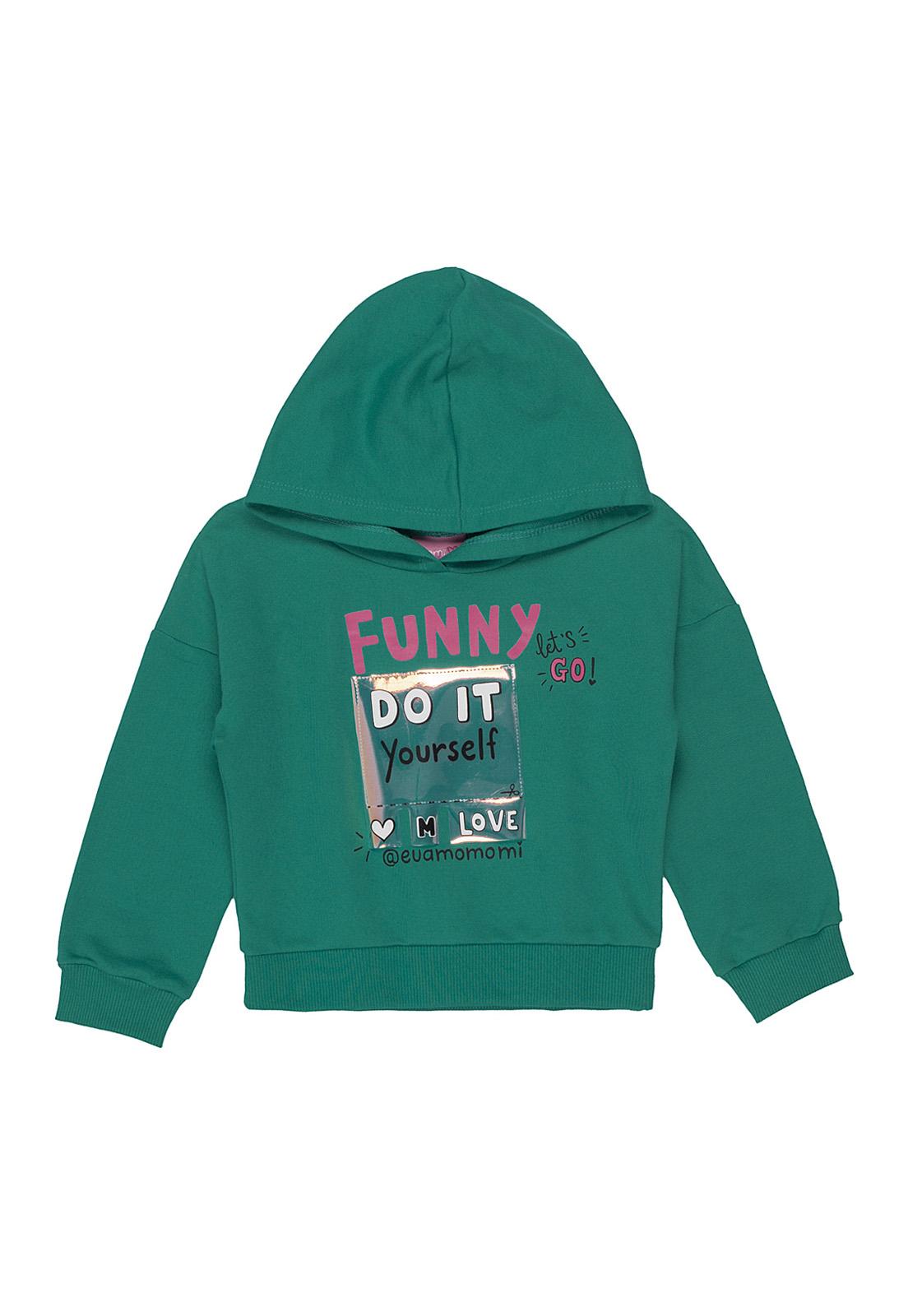 Blusa Infantil Moletom Funny com Capuz Verde Esmeralda Momi