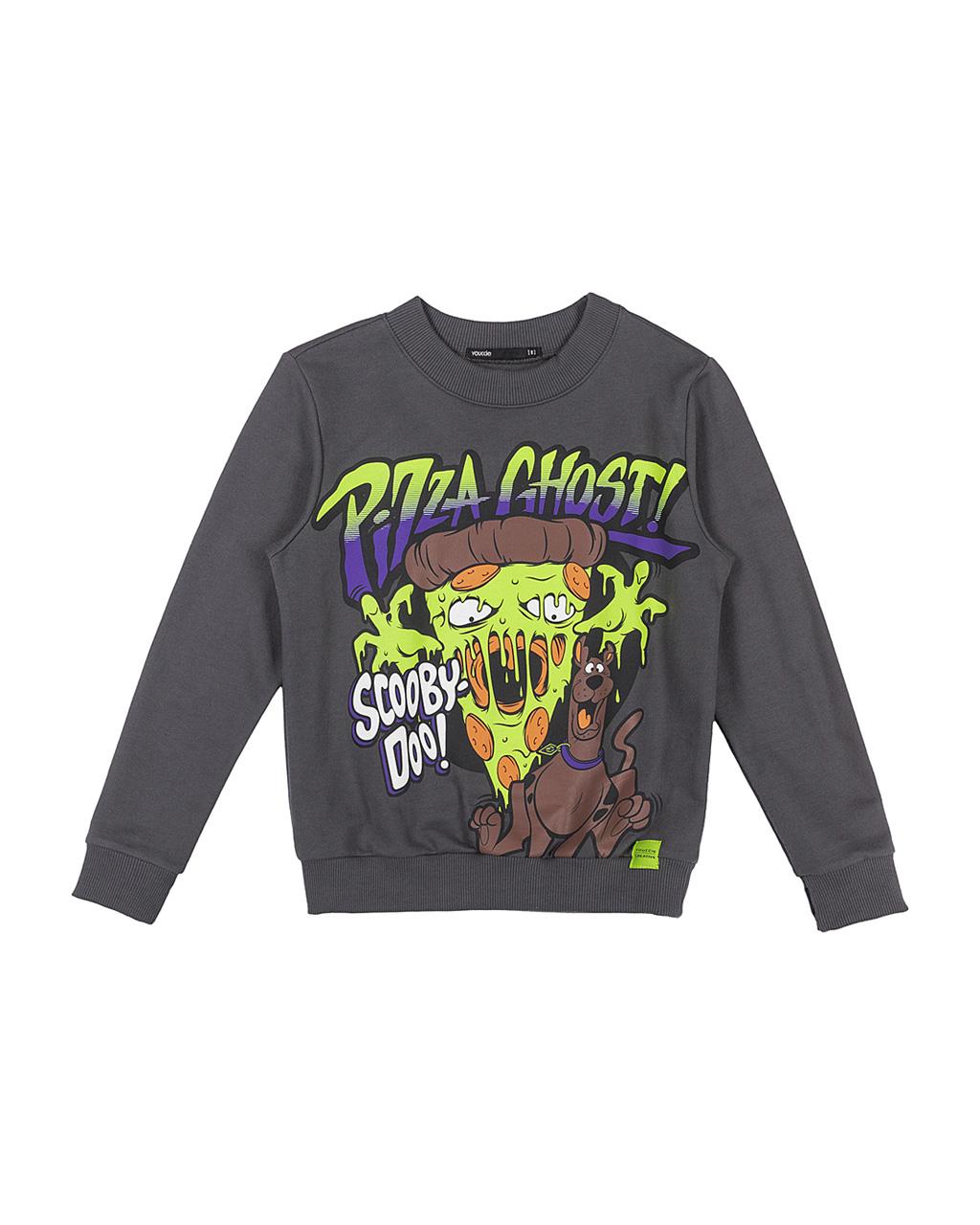 Blusa Infantil Moleton Scooby-Doo Pizza Fantasma Cinza Escuro Youccie