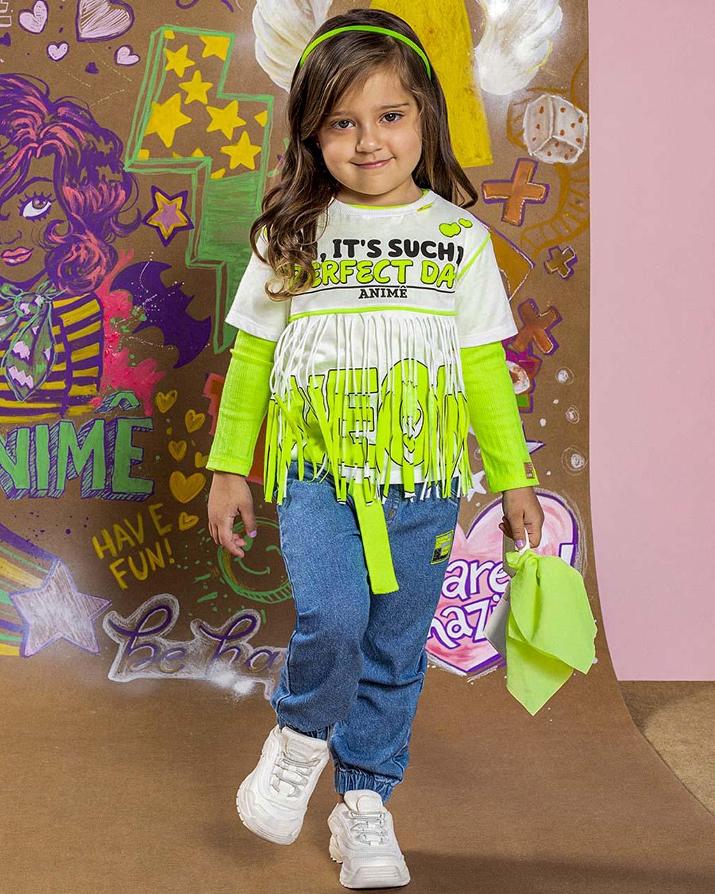 Blusa Infantil Neon Franjas  Off White Animê