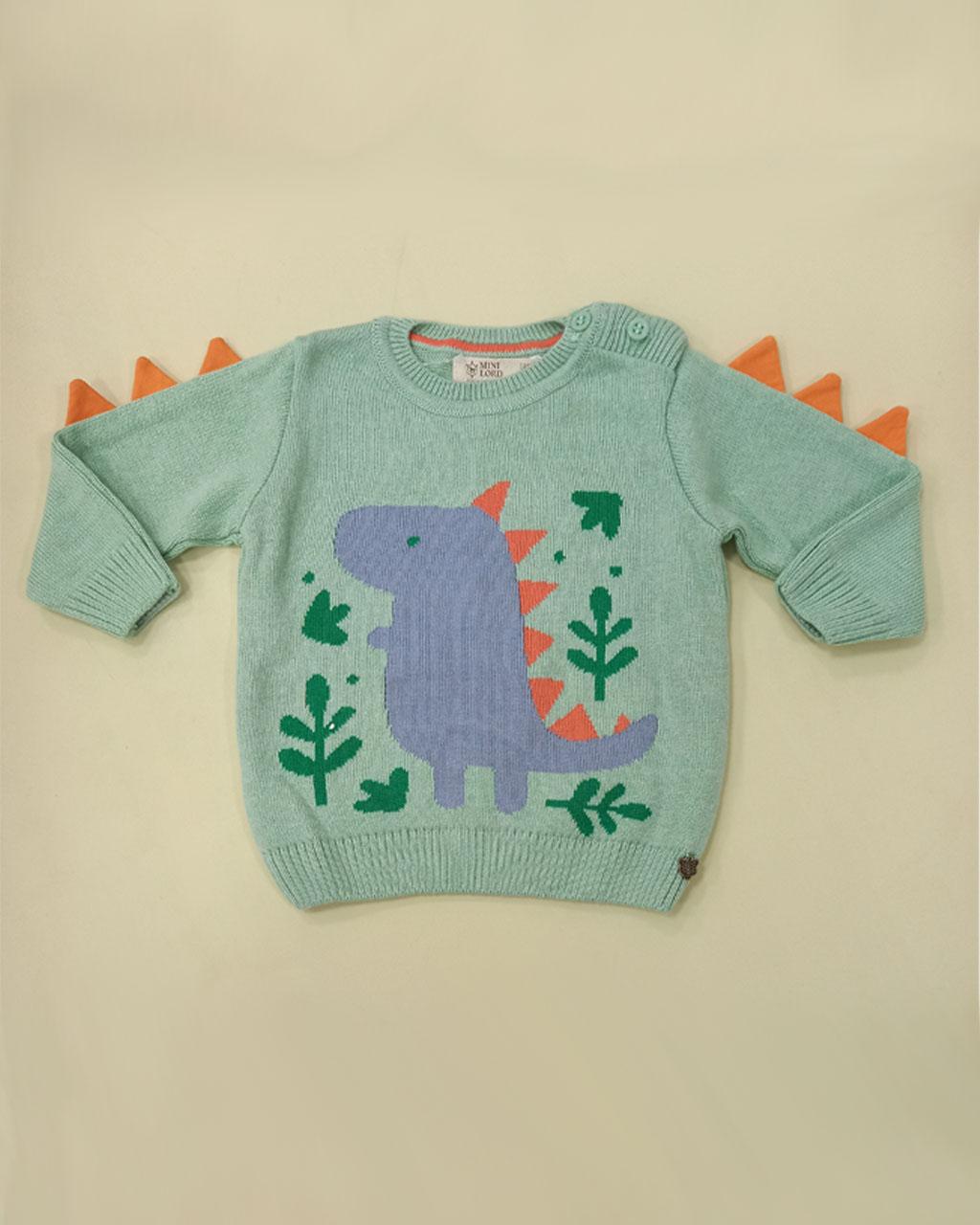 Suéter Infantil Tricô Masculina Baby Dinossauro Mini Lord