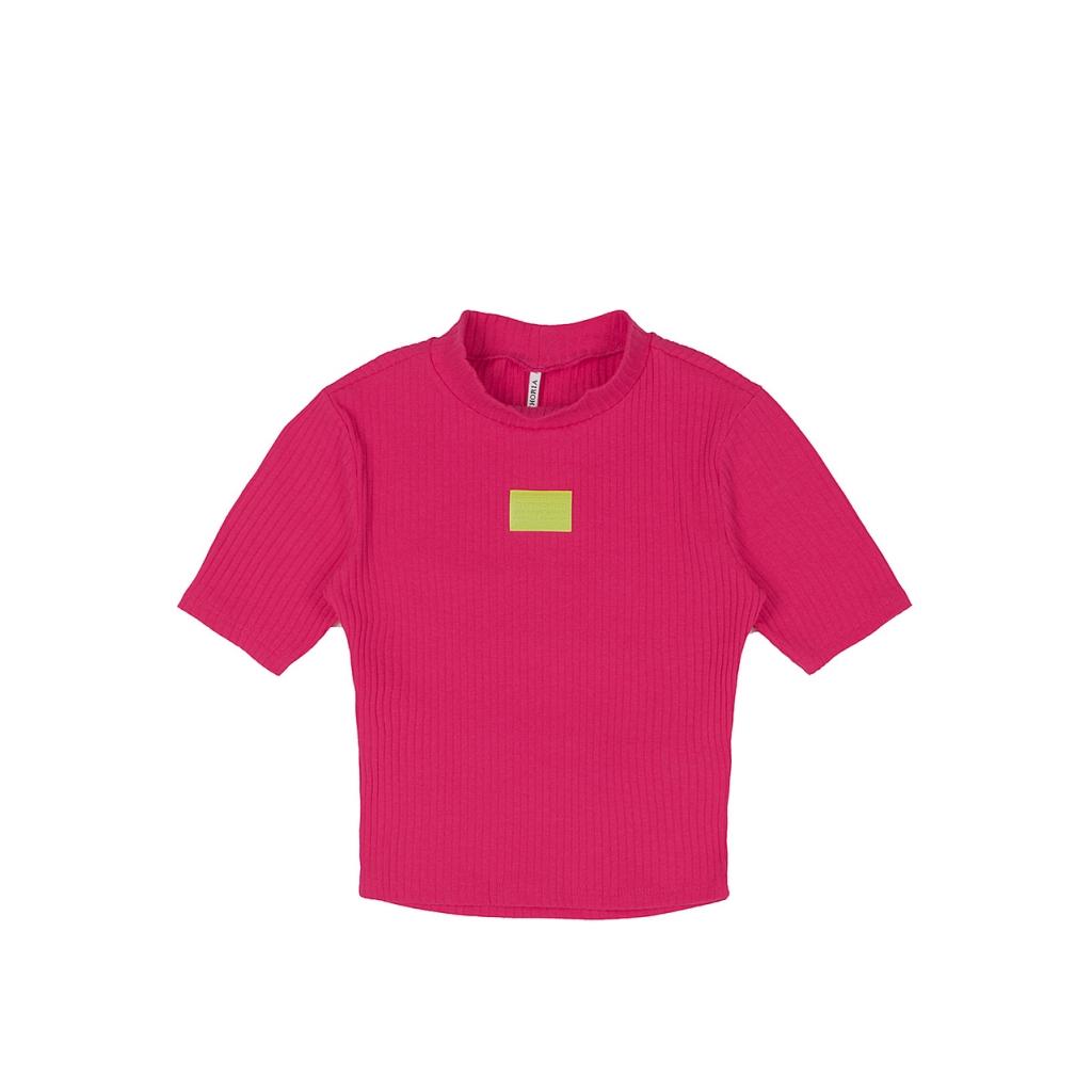 Blusa Teen Canelada Pink Etiqueta Lima Frontal com Recorte nas Costas Authoria