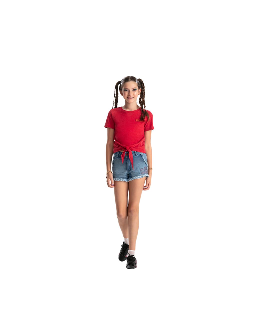 Blusa Teen Estonada com Amarração Frontal Vermelha Bobbylulu