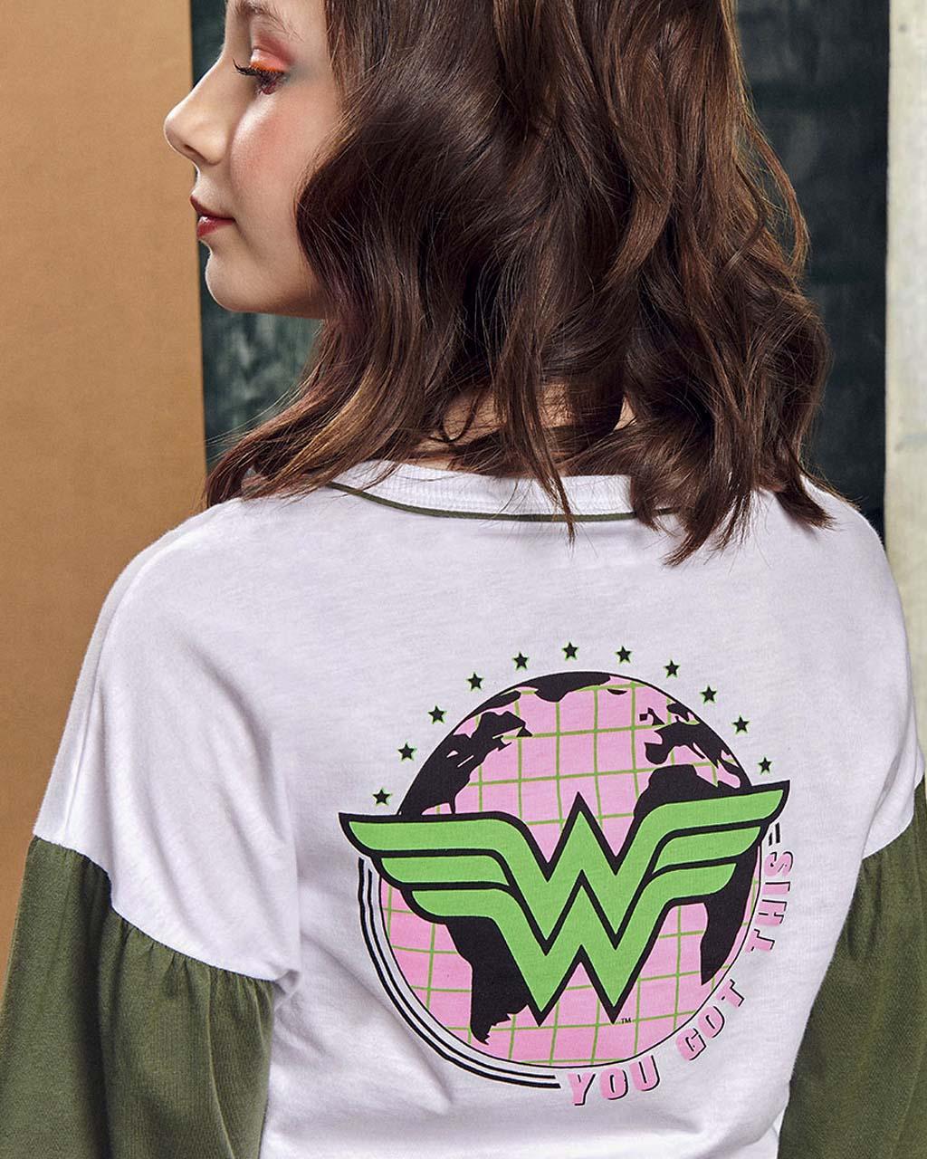 Blusa Teen Malha Wonder Woman Verde Com Off I Am