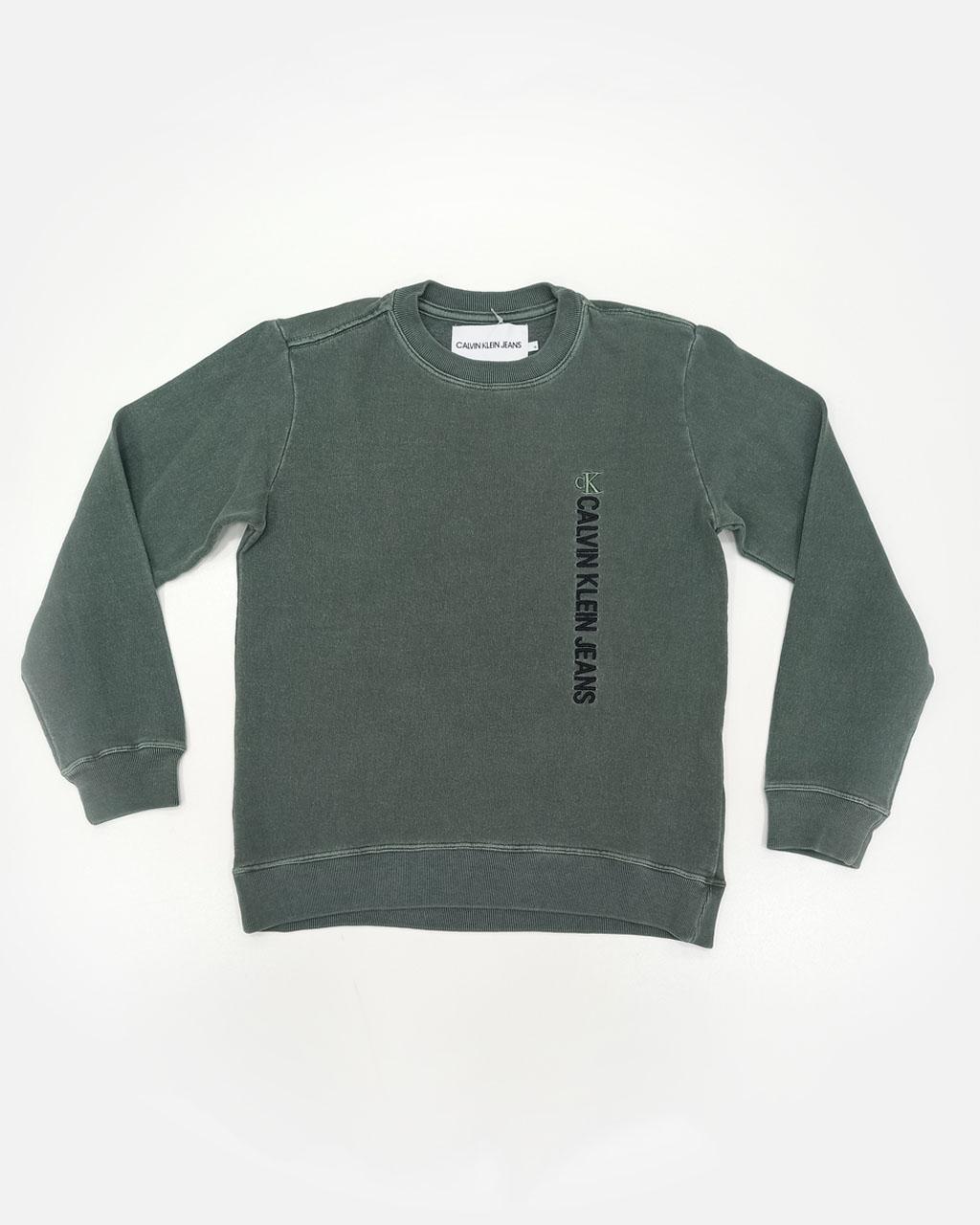 Blusa Teen Moletom Basico Verde Calvin Klein