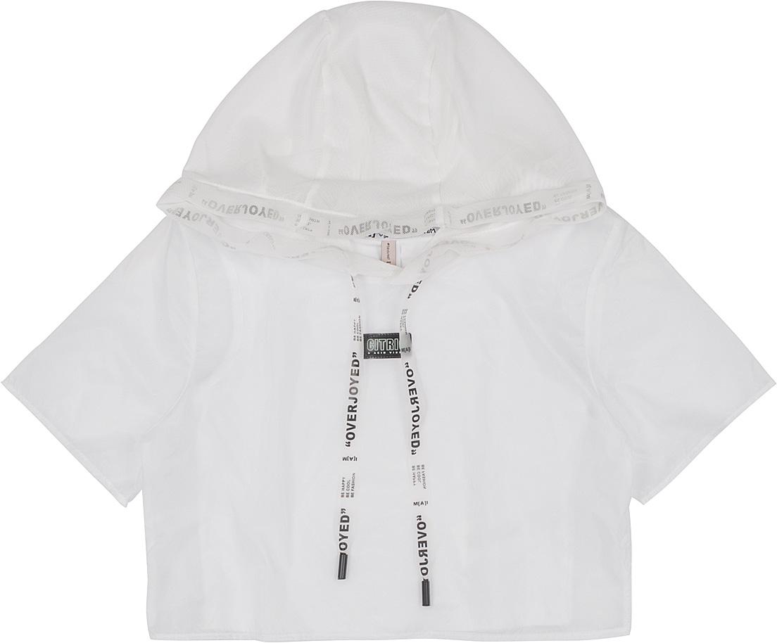 Blusa Teen Sobreposição Plastic Capuz Telinha Off White I Am