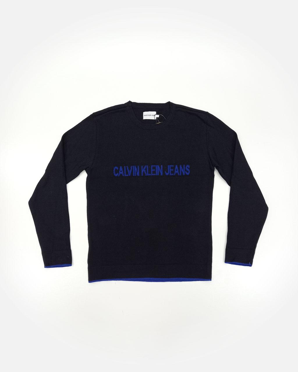 Blusa Teen Tricot Basica Preta Logo No Peito Azul Calvin Klein