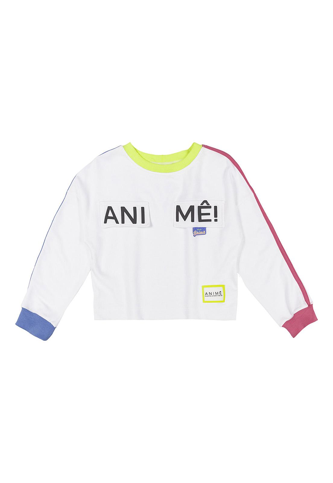 Blusão Infantil Moletinho Com Detalhes Rosa, Azul E Neon Animê
