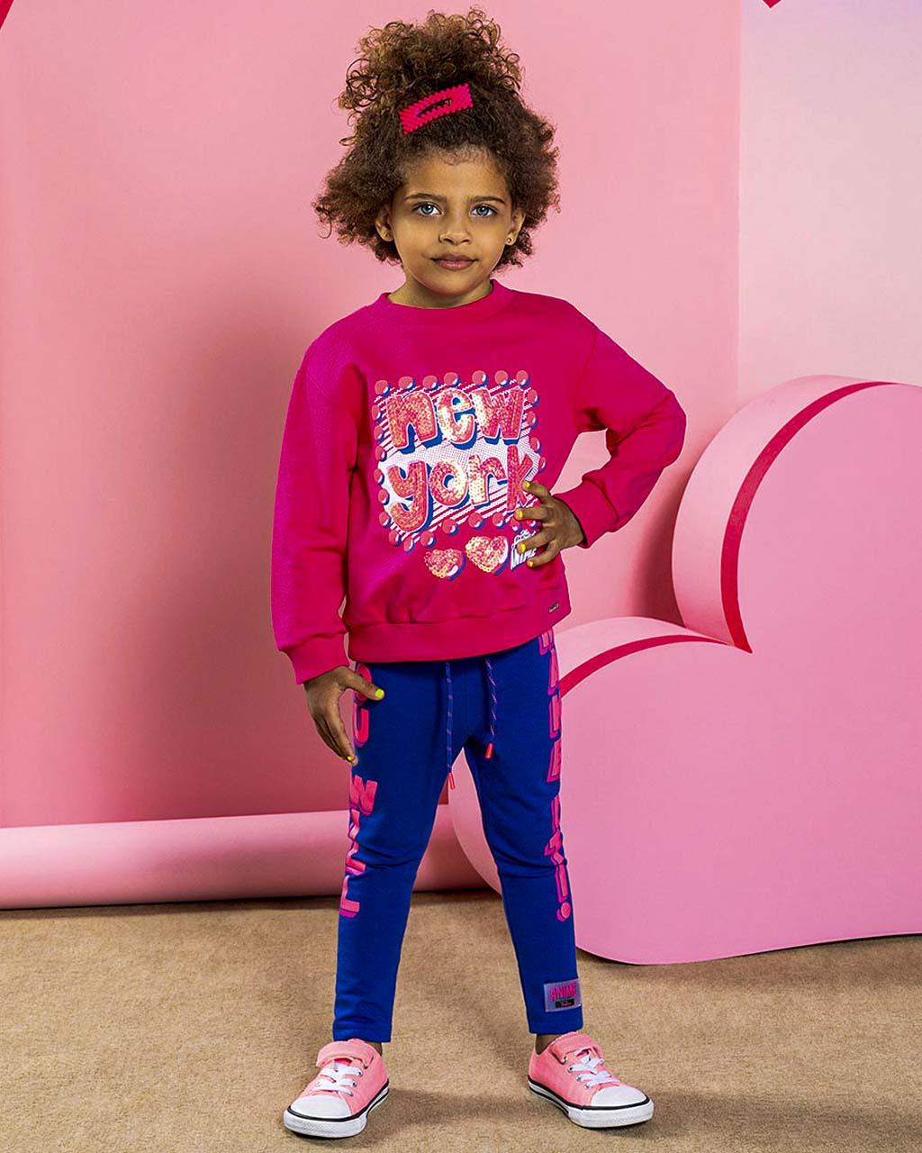 Blusão Infantil Moleton Pink Bordados Lantejolas Animê