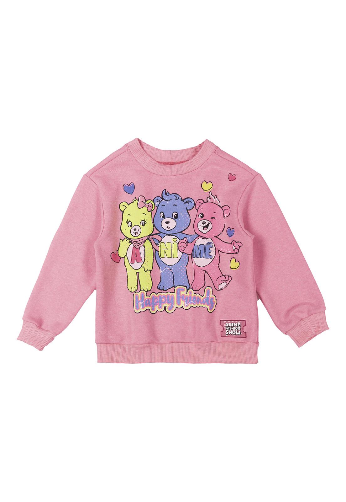 Blusão Moletom Rosa com Arte Ursinhos Carinhosos Animê