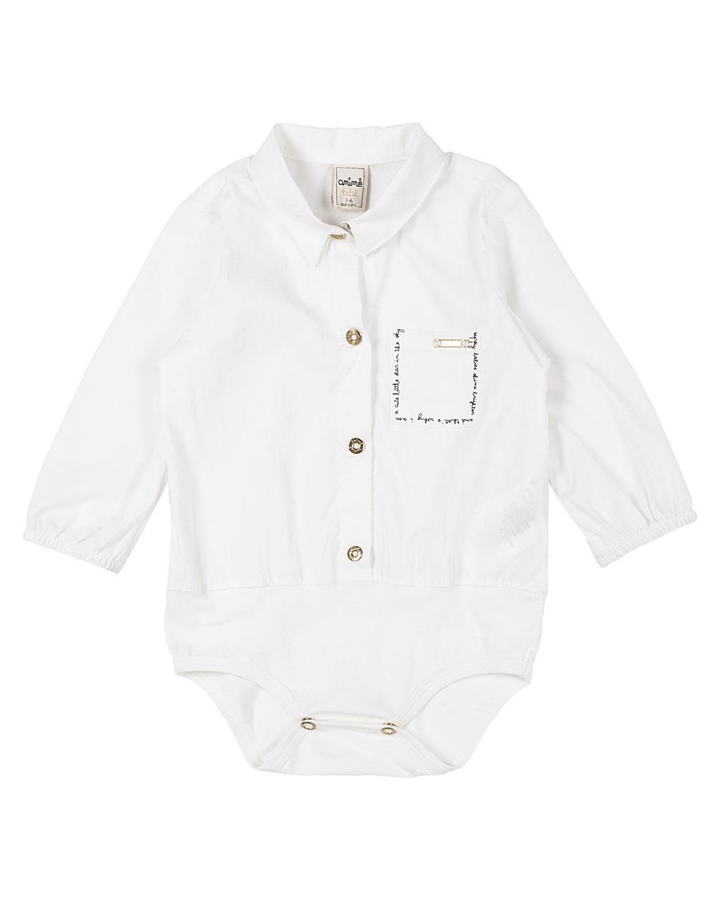 Body Baby Camisete Tricoline com Cotton Off White Animê