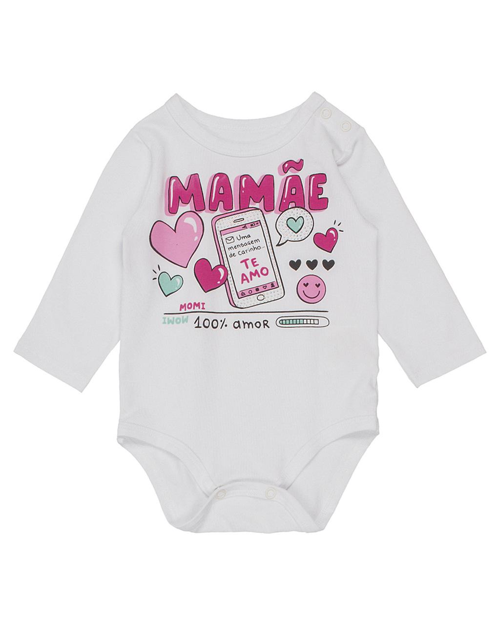 Body Baby Manga Longa Mamãe Momi